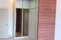 Modern coupled with wood grain design wardrobe