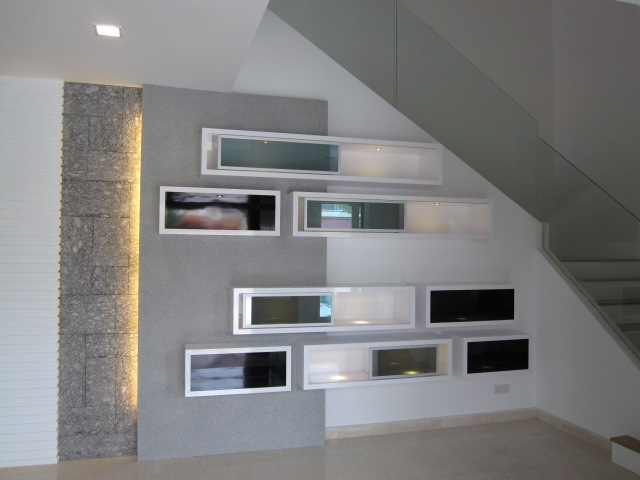3D Feature Wall With Lighting And Display Shelves Part 88